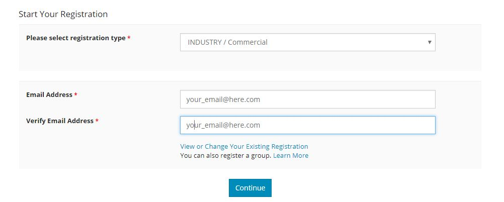 Com email address cannot be used to register
